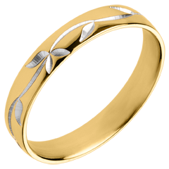 Alliance Fraicheur - Lierre gravé - or blanc et or jaune 18 carats