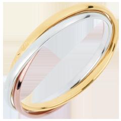 Trauring Saturn Rotation - Kleines Modell - Dreierlei Gold, 3 Ringe