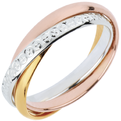 Wedding Ring Saturn Movement variation- large model - 3 golds, 3 rings