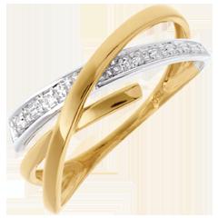Fede Volteggio oro giallo e oro bianco pavé - 3 diamanti