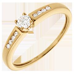 Solitario Ottava oro giallo   - 0.21 carati - 9 diamanti