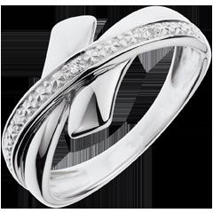 Anillo cruces oro blanco y diamantes