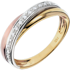 Anillo Saturno diamante - 3 oros - 18 quilates