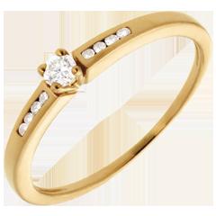 Solitario Ottava oro giallo   - 9 diamanti