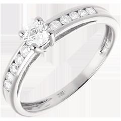 Solitario Schiarite oro bianco  - 0.39 carati - 11 diamanti