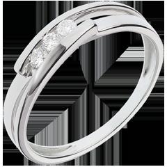 Bague trilogie bipolaire or blanc - 3 diamants