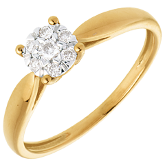 Anello Ramoscello oro giallo Sfera pavé - 7 diamanti