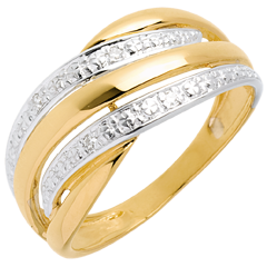 Anello Naja oro giallo pavé diamanti - 4 diamanti