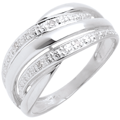 Bague naja or blanc pavée diamants  - 4 diamants