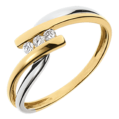 Trilogy Ring Precious Nest - Tango - yellow and white gold - 0.07 carat - 9 carats
