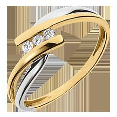 Anillo trilogía Nido Precioso - Tango - oro amarillo y oro blanco 9 quilates - diamentes 0,07 quilates