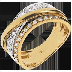 Anello Regale Saturno variazione - oro giallo, oro bianco