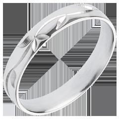 Alliance or blanc Fraicheur - Lierre gravé - or blanc - 18 carats