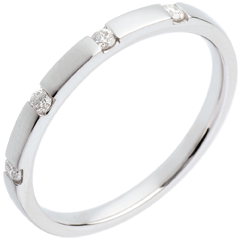 Fede nuziale oro bianco - 4 diamanti