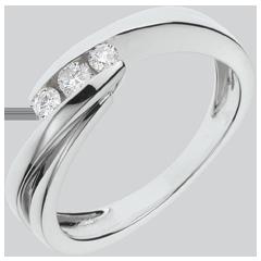 Anello trilogy Nido Prezioso - Ritornello- oro bianco - 3 diamanti - 18 carati
