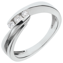 Anillo trilogía Nido Precioso - Riturnelo - oro blanco - 3 diamantes - 18 quilates