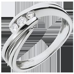 Anello trilogia Nido Prezioso - Ritornello - oro bianco - 0.21 carato - 3 diamanti - 18 carati