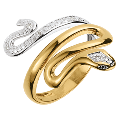 Anillo Paseo Soñado - Preciosa Amenaza - dos oros y diamantes - 9 quilates
