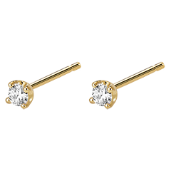 Boucles d'oreilles diamants  - puces or jaune 0.15 carat