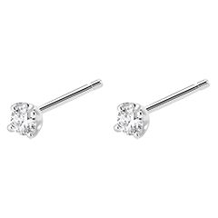 Boucles d'oreilles diamants  - puces or blanc 0.15 carat