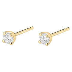 Boucles d'oreilles diamants  - puces or jaune 0.2 carat
