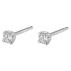 Boucles d'oreilles or blanc diamants  - puces diamant 0.2 carat