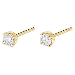 Boucles d'oreilles diamants  - puces or jaune - 0.3 carat