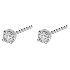 Boucles d'oreilles diamants  - puces or blanc - 0.3 carat