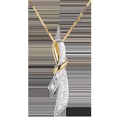 Ciondolo Dolce Nodo - Oro bianco e Oro giallo - 18 carati - 10 Diamanti