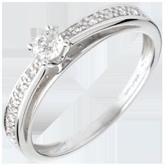 Solitaire arceau or blanc pavé  - diamant 0.15 carat
