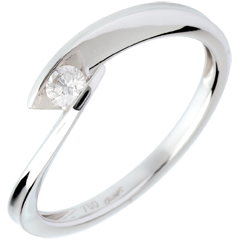 Solitario Nido Precioso - Cala - oro blanco - 0.11 quilate - 18 quilates