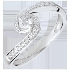 Anello di Fidanzamento Destino - Pendenza pavé - oro bianco - 0.28 carati
