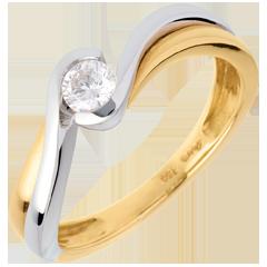 Solitaire Nid Précieux -Verseau - or jaune et or blanc - 0.21 carat - 18 carats