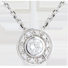 Pendentif bouton or blanc 18 carats - 0.19 carat