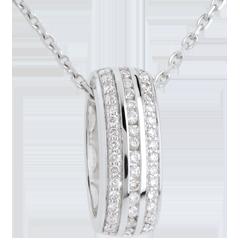 Pendentif roue diamants - or blanc 18 carats - 0.27 carats