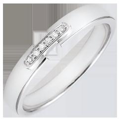 Alliance uni-précieux or blanc 18 carats et diamants