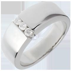 Trilogie étreinte or blanc  - 3 diamants
