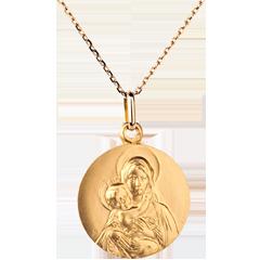 Klassischer Anhänger Jungfrau mit Jesuskind - 18mm - 375er Gelbgold