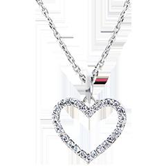 Pendentif Abondance - Coeur Enchanté - or blanc 9 carats et diamants