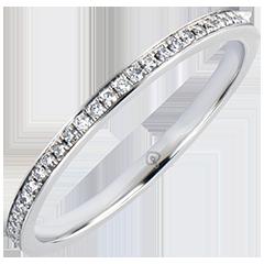 Fede nuziale Origine - Incastonatura a Grani - oro bianco 18 carati e diamanti