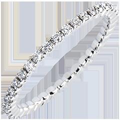 Fede nuziale Origine - Incastonatura a Griffe - Giro completo - oro bianco 9 carati e diamanti