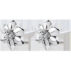 Ohrringe Blüte - Dalhia - 9 Karat Weißgold und Diamant