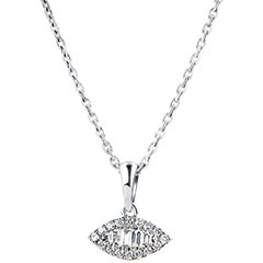 Pendentif Abondance - Regard Levant - or blanc 9 carats et diamants