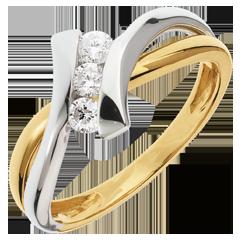 Anello trilogy Nido Prezioso - Dolce Vita - oro giallo ed oro bianco - 0.22 carato - 3 diamanti - 18 carati
