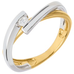 Solitario Nido Prezioso - Meccano oro giallo ed oro bianco - 0.07 carati - 18 carati