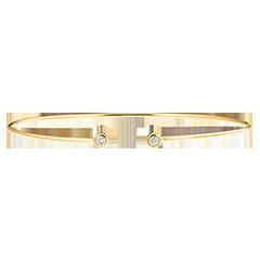 Bracelet Jonc Ouvert Fraîcheur - Toi et Moi - or jaune 9 carats et diamants