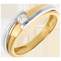 Solitario Nido Prezioso - Bipolare - oro giallo ed oro bianco - 18 carati