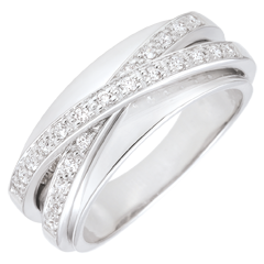 Bague Saturne Miroir - or blanc - 23 diamants - 9 carats