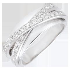 Anillo Saturno Espejo - oro blanco - 23 diamantes - 9 quilates