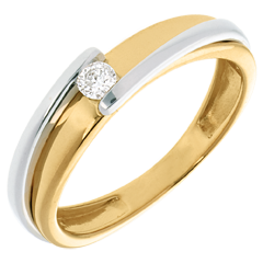 Solitaire bipolaire or jaune – or blanc  - 0.08 carat